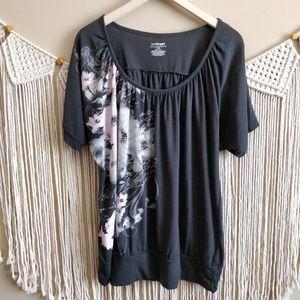 Lane Bryant Gray Floral Graphic Tee Shirt 14/16